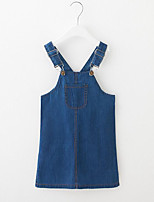 abordables -Robe Fille de Quotidien Couleur Pleine Rayonne Printemps Eté Sans Manches Mignon Bleu