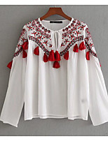 cheap -Women's Vintage Puff Sleeve Cotton Blouse - Solid Colored, Print Shirt Collar