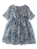 cheap -Girl's Daily Floral Dress, Polyester Summer Short Sleeves Basic Blue