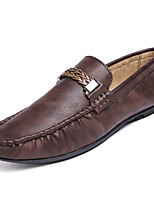 cheap -Men's Shoes Cowhide Spring Fall Comfort Loafers & Slip-Ons for Casual Black Brown Khaki