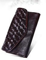 cheap -Men's Bags Genuine Leather Wallet Zipper for Casual Chocolate / Black / Brown