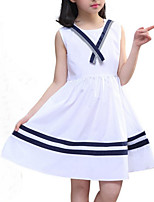 cheap -Girl's Daily Holiday Solid Colored Striped Dress, Cotton Polyester Summer Sleeveless Cute Active White Navy Blue