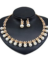 cheap -Women's Imitation Pearl Gold Plated Floral Jewelry Set 1 Necklace Earrings - Floral Fashion Jewelry Set Bridal Jewelry Sets For Wedding