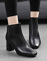 cheap -Women's Shoes PU Spring Fall Comfort Boots Chunky Heel for Black Red