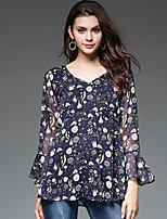 preiswerte -Damen Blumen Bluse, V-Ausschnitt
