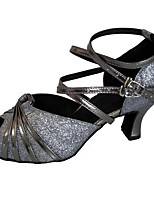 cheap -Women's Latin Shoes Sparkling Glitter Sandal Indoor Customized Heel Customizable Dance Shoes Gray