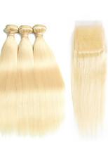 baratos -Cabelo Peruviano Liso Cabelo Remy Âmbar / Um Pacote de Solução / Extensões de Cabelo Natural 4 pacotes Tramas de cabelo humano Com Baby