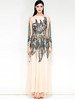 Недорогие -Жен. Очаровательный Богемный С летящей юбкой Платье - Контрастных цветов Макси