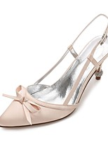 cheap -Women's Shoes Satin Spring Summer Basic Pump D'Orsay & Two-Piece Comfort Wedding Shoes Cone Heel Rhinestone Sparkling Glitter for Wedding