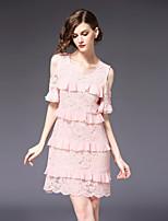 cheap -FRMZ Women's Plus Size Cute Slim A Line Dress - Floral Color Block Lace Print Patchwork Off Shoulder