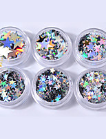 baratos -6pcs Paetês Glitters Luminoso Design especial Casual Nail Art Design