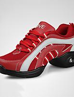 cheap -Women's Dance Sneakers Leatherette Sneaker Flat Heel Customizable Dance Shoes Red / Navy / Black / Red