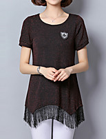 cheap -Women's Basic Street chic T-shirt - Solid Colored Tassel