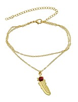 cheap -Anklet - Imitation Tourmaline Leaf Basic, Fashion Gold / Silver For Daily / Holiday / Women's