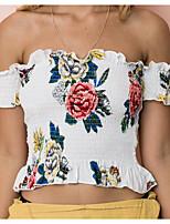 abordables -Tee-shirt Femme, Fleur Imprimé Basique Bateau