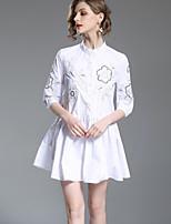 Недорогие -Жен. Очаровательный Классический А-силуэт Рубашка Платье - Цветочный принт, Вышивка Выше колена