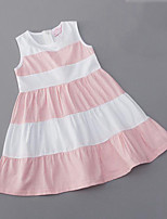 cheap -Girl's Daily Striped Dress, Rayon Summer Sleeveless Cute Black Blushing Pink