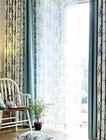 baratos -Sheer Curtains Shades Sala de Estar Floral Contemporâneo Algodão / Poliéster Estampado