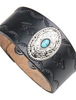 preiswerte -Herrn Türkis Leder 1pc Manschetten-Armbänder Lederarmbänder - Retro Cool Rock Kreisform Schwarz Braun Armbänder Für Klub Strasse