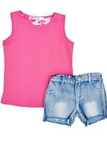 cheap -Girls' Daily Holiday Print Clothing Set, Cotton Polyester Summer Sleeveless Active Blushing Pink