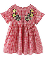 cheap -Girl's Daily Print Dress, Polyester Summer Short Sleeves Basic Red
