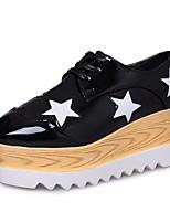 abordables -Femme Chaussures Polyuréthane Printemps Automne Confort Oxfords Hauteur de semelle compensée Bout carré pour Noir Argent Beige