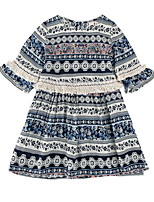 cheap -Girl's Daily Holiday Print Dress, Cotton Polyester Spring Summer Half Sleeves Cute Active Blue