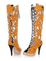 Недорогие -Жен. Обувь Флис Лето Модная обувь Ботинки На шпильке Открытый мыс Сапоги до середины икры для Черный Желтый Красный