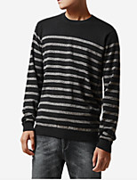 cheap -Men's Simple Long Sleeves Pullover - Striped Round Neck