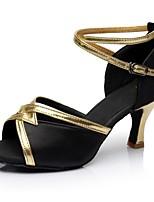 Недорогие -Жен. Обувь для латины Сатин / Лакированная кожа Сандалии / На каблуках Планка Тонкий высокий каблук Персонализируемая Танцевальная обувь Черный