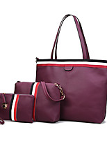 cheap -Women's Bags PU Leather Bag Set 3 Pcs Purse Set Zipper for Office & Career Blushing Pink / Gray / Purple