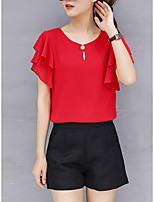 cheap -Women's Work Plus Size Blouse Shirt Solid Colored Ruffle Round Neck Tops Batwing Sleeve Chiffon Business Basic Basic Top White Red Yellow