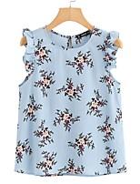 abordables -Mujer Básico Estampado - Algodón Blusa Floral