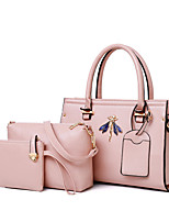 cheap -Women's Bags PU Leather Bag Set 3 Pcs Purse Set Appliques for Office & Career Red / Blushing Pink / Brown