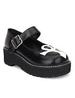 baratos -Sapatos Gótica Punk Góticas Punk Creepers Sapatos Retalhos 5cm CM Preto Para Couro PU / Couro de Poliuretano