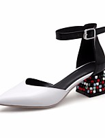 cheap -Women's Shoes Cowhide Spring / Fall Comfort Heels Chunky Heel White / Black / Red
