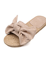 cheap -Women's Shoes Nubuck leather Summer Comfort Slippers & Flip-Flops Flat Heel Round Toe Bowknot for Casual Black Beige Dark Yellow