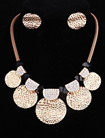 cheap -Women's Oversized Jewelry Set 1 Necklace Earrings - Metallic Oversized Circle Gold Jewelry Set For Bar Club