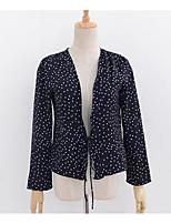 Недорогие -Жен. С кисточками Блуза Хлопок Однотонный Горошек Рукава буффы