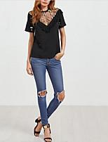 abordables -Tee-shirt Femme, Couleur Pleine Brodée Actif