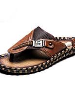 cheap -Men's Shoes Cowhide Summer Comfort Slippers & Flip-Flops for Casual Black Light Brown