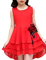 cheap -Girl's Daily Solid Colored Floral Dress, Polyester Spring Summer Short Sleeves Cute Black Red Blushing Pink