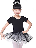 cheap -Ballet Dresses Girls' Training Performance Cotton Lace Short Sleeves Natural Dress