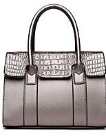 cheap -Women's Bags Leather Shoulder Bag Zipper Blue / Black / Sillver Gray