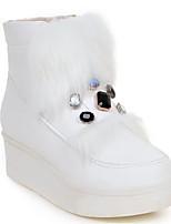 Недорогие -Жен. Обувь Полиуретан Весна Зима Зимние сапоги Ботинки Туфли на танкетке Круглый носок Ботинки Стразы для Повседневные Белый Черный
