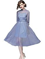 Недорогие -Жен. Классический Уличный стиль С летящей юбкой Платье - Однотонный Средней длины