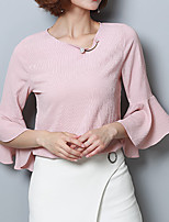 cheap -Women's Basic Street chic Blouse-Solid Colored