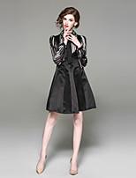 abordables -Femme Basique Trapèze Robe - Perlé, Rayé Au dessus du genou