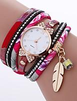 abordables -Mujer Cuarzo Reloj de Moda Chino La imitación de diamante PU Banda Casual Moda Negro Blanco Azul Rojo Marrón Rosa