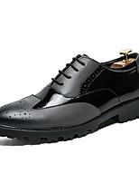 baratos -Homens sapatos Couro Primavera Verão Sapatos formais Oxfords Tachas para Casamento Festas & Noite Preto Cinzento